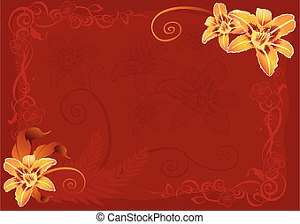 red background with yellow flowers in the corners, vector illustration,