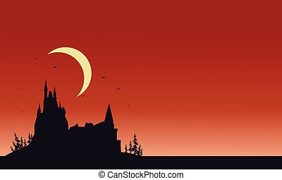 Red backgrounds Halloween castle silhouette