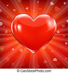 Red Backgrounds With Beams And Hearts