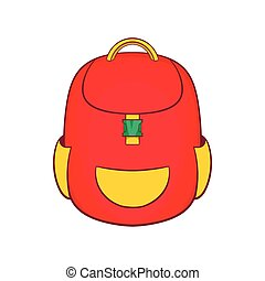 Red backpack icon in cartoon style