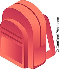 Red backpack icon, isometric style