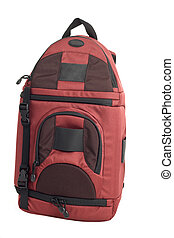 Red Backpack. - Red Backpack against a white background.