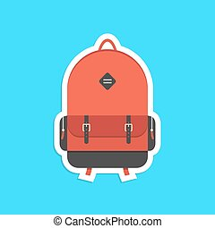 red backpack sticker with shadow