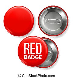 Red Badge Mockup Vector. Pin Brooch Red Button Blank. Two Sides. Front, Back View. Branding Design 3D Realistic Illustration