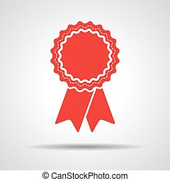 red badge with ribbons icon - vector illustration