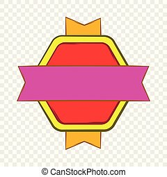 Red badge with yellow and violet ribbons icon