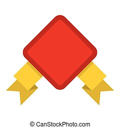 Red badge with yellow ribbons icon, flat style