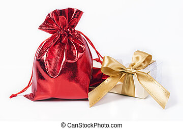 Red bag and gold bow