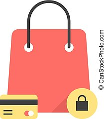 red bag icon like protected shopping