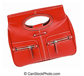 Red bag - Ladys red bag isolated on white background with ...