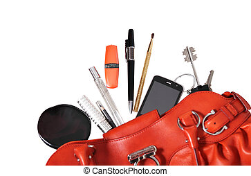 Red bag of the woman - Red bag with typical woman things and...