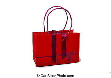 red bag on the white background