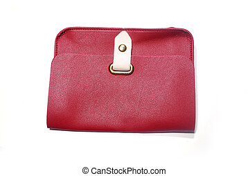 Red bag. - Red leather purse for women isolated on white ...