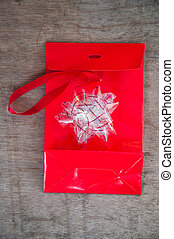 Red bag with and bow