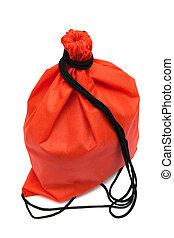 red bag with black rope on a white background