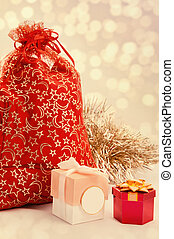 red bag with Christmas toys