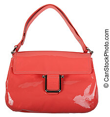 Red bag with handles on a white background.
