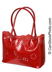 bag with long handles - Red bag with long handles on a white...