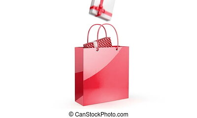 Red bag with presents