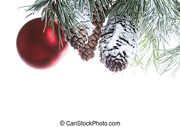 Red ball and pine cones