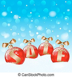 Red ball and snowflakes in blue bokeh background. Vector EPS10.