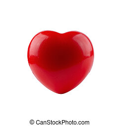 Red ball foam with shape heart isolated on white background