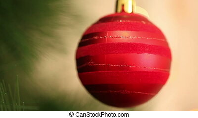 Red ball hanging on a Christmas tree