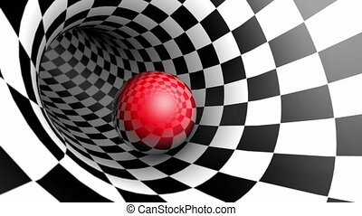 Red ball in a chess tunnel (chess metaphor). Seamless Looping. 3D animation.