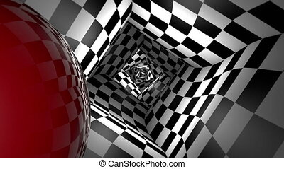 Red ball in a square chess tunnel (chess metaphor). 3D animation. Seamless Looping