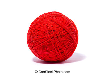 red ball of yarn for knitting, isolate