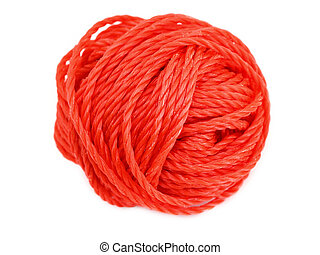 Red ball of yarn isolated on a white