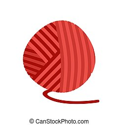 Red ball of yarn Threads. bundle of wool for knitting isolated