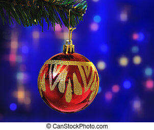 red ball on christmas light background