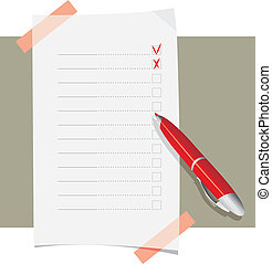 Red ball pen and application form template. Vector...