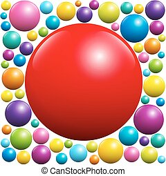 Red Ball Surrounded By Colorful