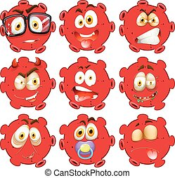 Red ball with facial expressions