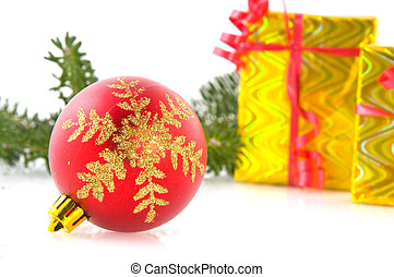 Red ball with golden decoration