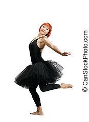 Red ballerina wearing tutu