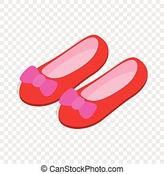 Red ballet shoes with pink bows isometric icon