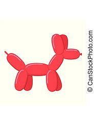 Red ballon dog isolated on white background. Cute bubble animal dog toy in flat style. Vector illustration