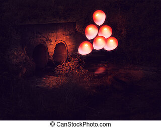 Red Balloon and Culvert - Glowing red balloon comes out from...