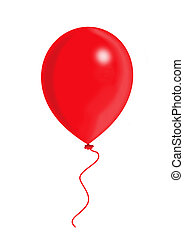 Red Balloon, balloon series, object isolated, illustration, painting, drawing