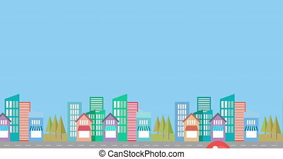 Animation of red balloon floating over modern cityscape moving on seamless loop on blue background. Celebration birthday party concept digitally generated image.