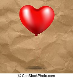 Red Balloon Heart In Cardboard Background