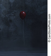 Red balloon in a dark room