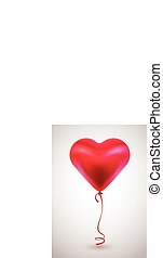 Red balloon in form of heart on light background.