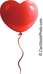 red balloon in the form of a heart holiday