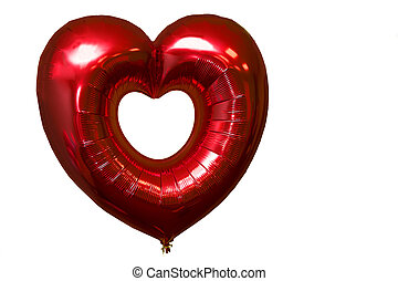 Red balloon in the form of a heart on a white background