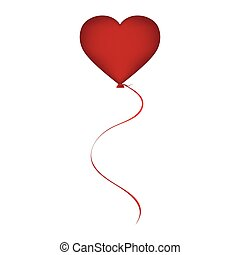 Red balloon in the shape of a heart on Valentine s Day