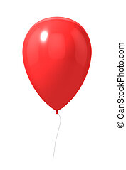 Red balloon isolated on a white. 3d illustration